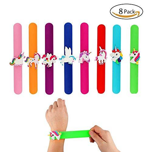 Aukcherie 8pcs Bracelets Slap Licorne for Kids Slap Bracelets Giftbox pour Les invités à la fête d'anniversaire, idéal pour Les