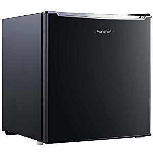 VonShef 35L Mini Freezer - Table Top Freezer with Temperature Control, Reversible Door & Removable Shelving - Black