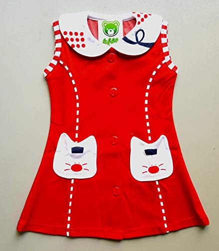LITTLE PANDA Frock for Baby Girls Cotton Dress (RED, 5-6 Years)