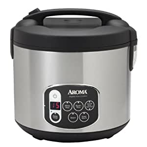 Aroma ARC-1010SB 10-Cup (Uncooked) 20-Cup (Cooked) Digital Rice Cooker and Food Steamer, Black/Silver