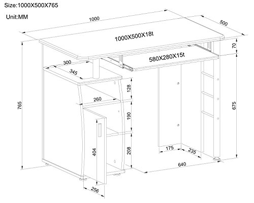 Computer Desk with Cupboard and Shelves for Home Office Piranha Elver PC 1b