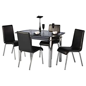 harlequin dining table with glass top 4 chairs pu leather black kitchen home. Black Bedroom Furniture Sets. Home Design Ideas