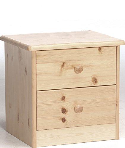 Erst-Holz® 90.20-K02 Ela Nachttisch Nachtschränkchen Kiefer massiv 2 Schubläden (Kiefer-holz-nachttisch)
