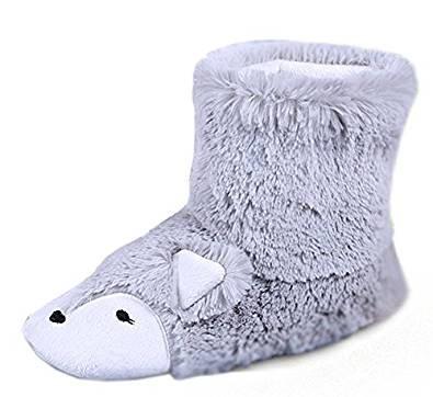 Pantoufles Femmes Filles Boots Cheville Chaussons d'intérieur Maison Bureau Thermique Bottes Chaussures en Peluche Mignon Renard Chaussettes Hiver Confortable Sandales Antidérapante Cadeau de Noël