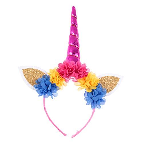 Kopfbedeckung Kostüm Einhorn - Wimagic 1 x Kinder Einhorn-Stirnband Blume Lovely Haarreif Kopfbedeckung Geburtstag Cosplay Kostüm Haar Zubehör Fotografie Requisiten für Baby Kinder, Stoff, Color-4, 14 cm