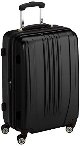 Packenger Koffer - Stone (L), Schwarz, 4 Zwillingsrollen, 81 Liter, 3,5Kg, 66cm, Koffer mit TSA-Schloss, Erweiterbarer Hartschalenkoffer (Polycarbonat) reißfester Trolley Reisekoffer, glänzend
