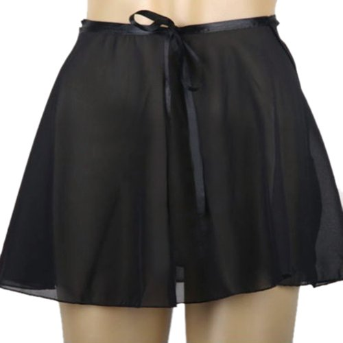 GOGO TEAM Child & Adult Sheer Wrap Skirt Ballet Skirt Ballet Dance Dancewear-Black-CHILD