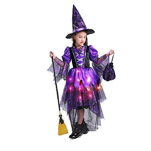 Yqihy Halloween Kostüme Mädchen Kleid Sparkle Hexe beleuchtet Cosplay Elf Party Tüll - Sparkle Hexe Kostüm