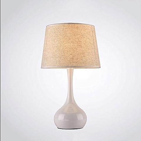 LEGELY Einfache Bettwäsche aus Metall Tischlampe, Arbeitszimmer Schlafzimmer Wohnzimmer dekoriert Tischlampe, beige, E27, Nordic einfach modernen Stil