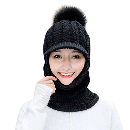 Anglewolf Womens Winter Rib Knitted Hat Faux Fur Bobble Pom Corkscrew Cable  Hat Plain Beanie Warm ab2f1aab72cb