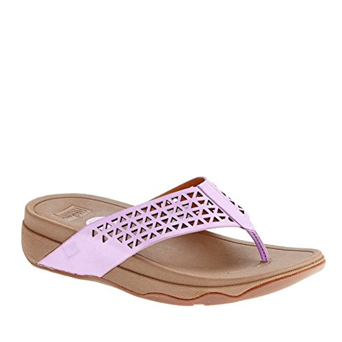 FitFlop Leather Lattice Surfa, Sandales femme Violet