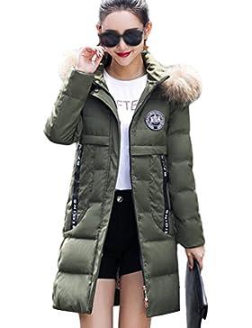 Yiiquan Inverno Donna Moda Lungo Giacca Spessore Sottile Cappotto Imbottito Con Pelliccia Faux Cappuccio