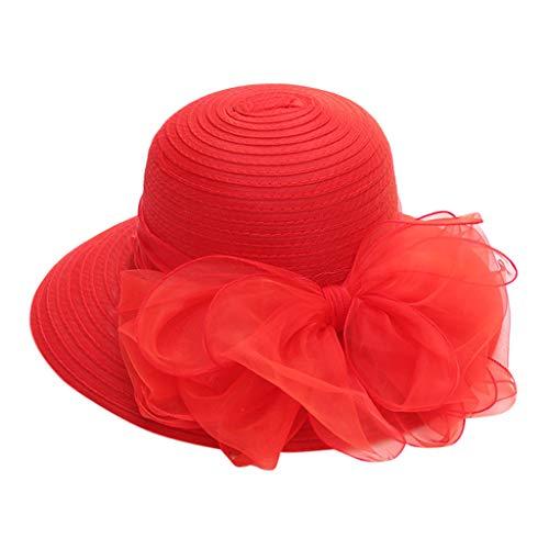 Wudube Berretto da Donna Estate Casual Maglia Grande Fiore Traspirante Ampio Bordo All'Aperto Protezione Solare Protezione Imitazione Cappello di Paglia