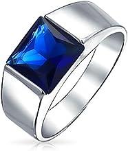 Bling Jewelry Patriótico Color Azul Zafiro CZ Anillo de Compromiso para hombre