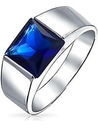 Bling Jewelry patriotique bleu couleur saphir CZ bague de fiançailles pour hommes