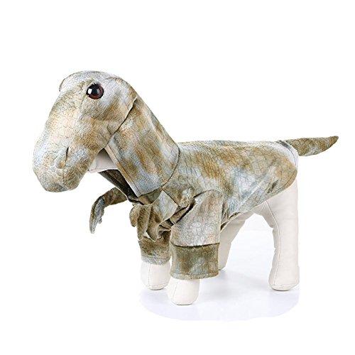 Delifur Pet Dinosaurier Kostüm Spuk-Nacht, Kostüm Hund Katze Cosplay Kleidung mit Kapuze Pet Tyrannosaurus Bekleidung für Hunde und Katzen, S, Grün