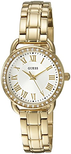 GUESS Women's U0837L2 Dressy Gold-Tone Watch with White Dial , Crystal-Accented Bezel and Stainless Steel Pilot Buckle