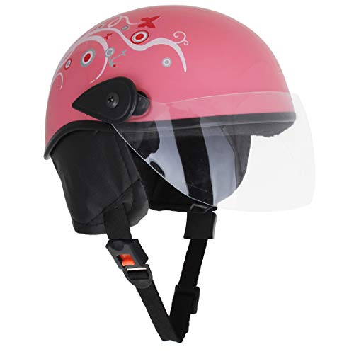 Sage Square Scooty Half Helmet for Men, Women (Medium, Pink Glossy Sticker Design 1)