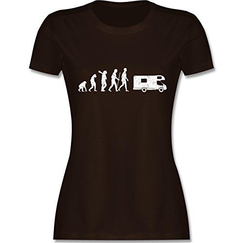 Evolution - Evolution Camper Weiß - Damen T-Shirt Rundhals Braun