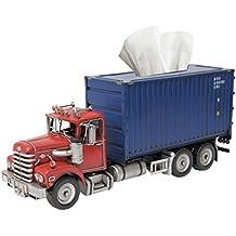 Hecho a mano Container Camión Caja de pañuelos funda soporte caso–Dispensador de servilletas, diseño de–antiguo Metal Retro Look Vintage rojo y azul