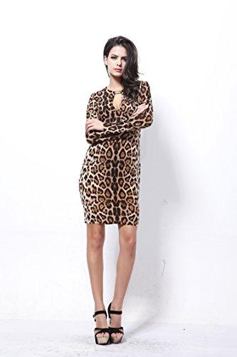 GWELL Damen Maxikleid Tief V-Ausschnitt langarm Sommer Kleider Business Cocktailkleid Partykleid Muster-A