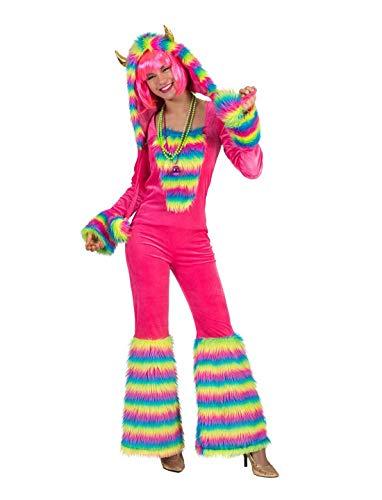 Halloweenia - Damen Frauen Kostüm Plüsch Regenbogen Monster Rainbow Fell Einteiler Onesie Overall Jumpsuit, perfekt für Karneval, Fasching und Fastnacht, 2XL, Pink (Regenbogen Monster Kostüme)