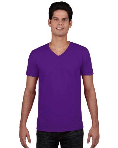 Gildan Herren Soft Style V-Neck T-Shirt Violett - Violett