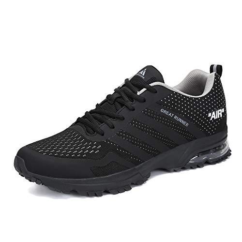 Laufschuhe Herren Damen Sportschuhe Leichte Turnschuhe rutschfeste Atmungsaktive Sneaker Mesh Running Schuhe Männer Frauen Schwarz 40 EU