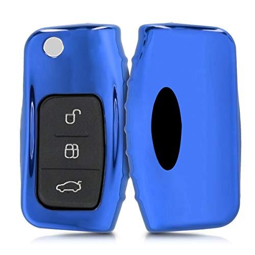 kwmobile Autoschlüssel Hülle für Ford - TPU Schutzhülle Schlüsselhülle Cover für Ford 3-Tasten Klappschlüssel Autoschlüssel Hochglanz Blau