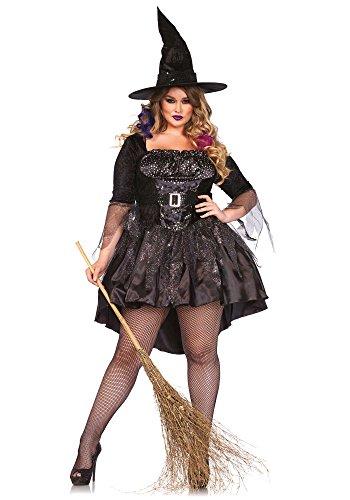 Leg Avenue 85475X - Black Magic Mistress-Kostüm, Größe 3X-4X (EUR (Schwarze Hexe Geraffte Hut)