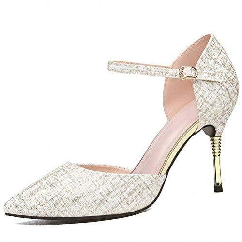 LTN Ltd - sandals Scarpe col Tacco Alto Sexy da Nightclub con Sandali Femminili a Un Bottone, Pelle di Bufalo, 34