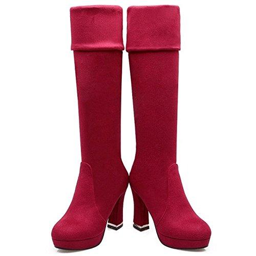 TAOFFEN Femmes Classique Talons Epais Bottes hautes Automne Chaussures 1401 Red Wine