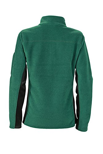 James & Nicholson Damen Workwear Fleece Jacket Jacke Grün (Dark-Green/Black)