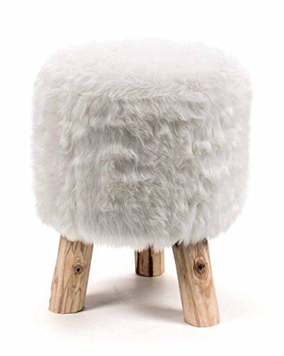 Sitz Polsterhocker klein mit Holzgestell, 3 oder 4 Beine, solide Verarbeitung (Design Kunstfell Weiß)