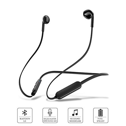 licheers Bluetooth Sport Kopfhörer V5.0, IPX5 wasserdicht Stereo Ohrhörer in Ear mit CVC 6.0 Dual Mic und 9 Stunden Spielzeit für iPhone, Samsung, Huawei und mehr (Schwarz)