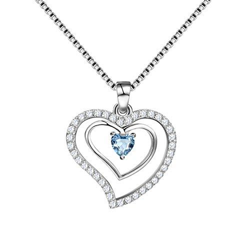 AuroraTears 925 Sterling Silber Doppel Herz Anhänger Halskette London Blau Zirkonia Frauen Liebe Herz Schmuck Geschenke DP0015L (London Halskette Blau)