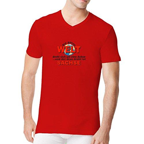 Fun Sprüche Männer V-Neck Shirt - Die Welt dreht sich... by Im-Shirt Rot