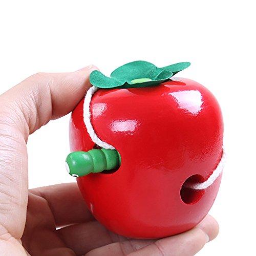 Mumustar Wooden Worm Eat Apple Children's Cater Apple Threading Educational Toys Gift