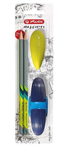 Herlitz Starterset 4tlg. / 2 Bleistifte + Spitzer + Radierer / Farbe: blau