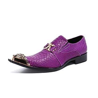 HMNS Shoes Herren Lederschuhe Metallspitze Zehe Effekt lila Halbschuhe Leder Schuhe für Business Hochzeit Abend Größe 39 bis 46,Purple,EU44/UK10