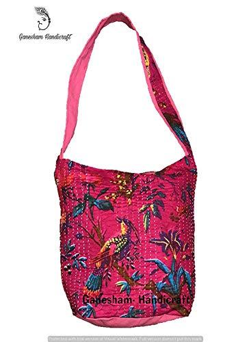 Indian Handmade Hippie Boho Hobo Messenger Bags Travel Bags Beach Bag Shopping Bags for Woman Kantha Cotton Cross Body Handbags -