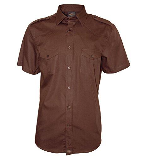 ROCK-IT Herren Hemd kurzarm US-Hemd im military Look Worker Hemd Worker shirt Freizeithemd Arbeitshemd made in Europa Größen S-5XL Farbe Braun 3X-Large (Arbeitshemd 3x)