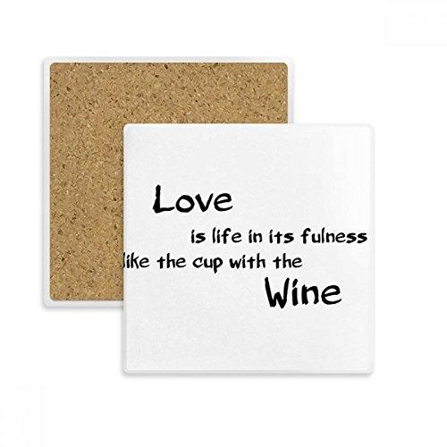 DIYthinker Famous Poetry Zitat Love Like Wine Platz Coaster-Schalen-Becher-Halter Absorbent Stein für Getränke 2ST Geschenk Mehrfarbig