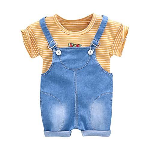 Kleidung Für Kinder Baby Kleidung Jungen Streifen Brief Tops T-Shirt Overall Jeans Hose Outfits Set 0-3 Jahre Pwtchenty Set -