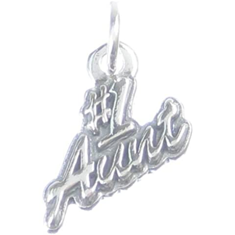Number One Aunt-Ciondolo in argento sterling 925 con charm 1 Aunts CF5293 famiglia - Number One Charm