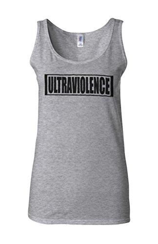 Ultraviolence Slogan Novelty White Femme Women Tricot de Corps Tank Top Vest Gris Sportif