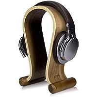 kalibri Soporte de Madera para Auriculares - Base Universal para Cascos Antideslizante - Sujeción Headset diseño en Madera de Nogal