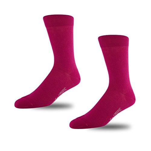Image of STÓR Men's 98% Organic Cotton Designer Calf Socks (2 PACK) Breathable Solid Patterns Many Colours (6-8UK / 39-42EU, Dk Pink/Dk Pink)