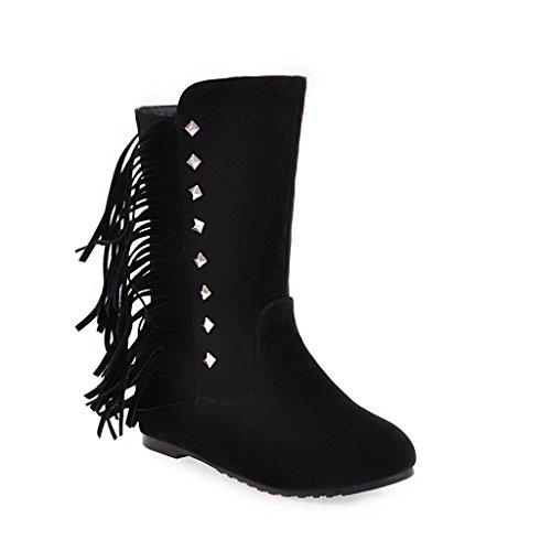HUA&X Donna punta tonda tacco piatto interno medio di aumento stivali scarpe di grandi dimensioni Black