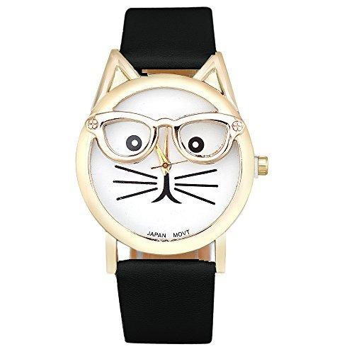rawdah mujeres muñeca reloj analógico cuarzo Dial lindo gato gafas